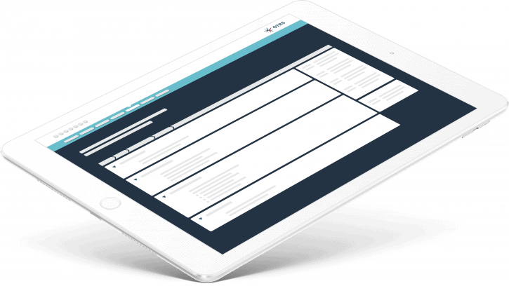 Layout of the OTRS Web page Portal displayed on a tablet on a white ipad inin the white blue and dark blue color scheme