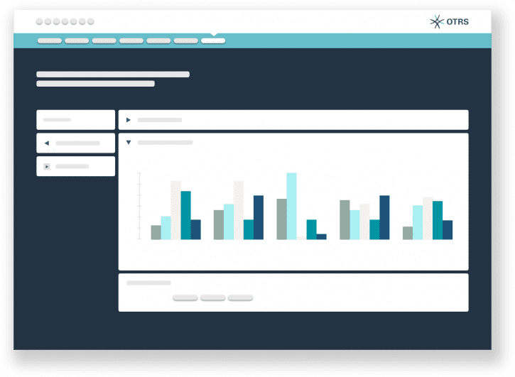 OTRS Reporting Portal displays example bBar charts using white blue and dark blue color scheme