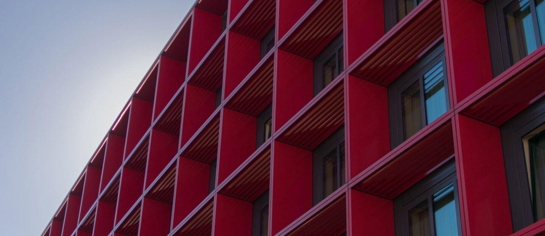 building red facade squares