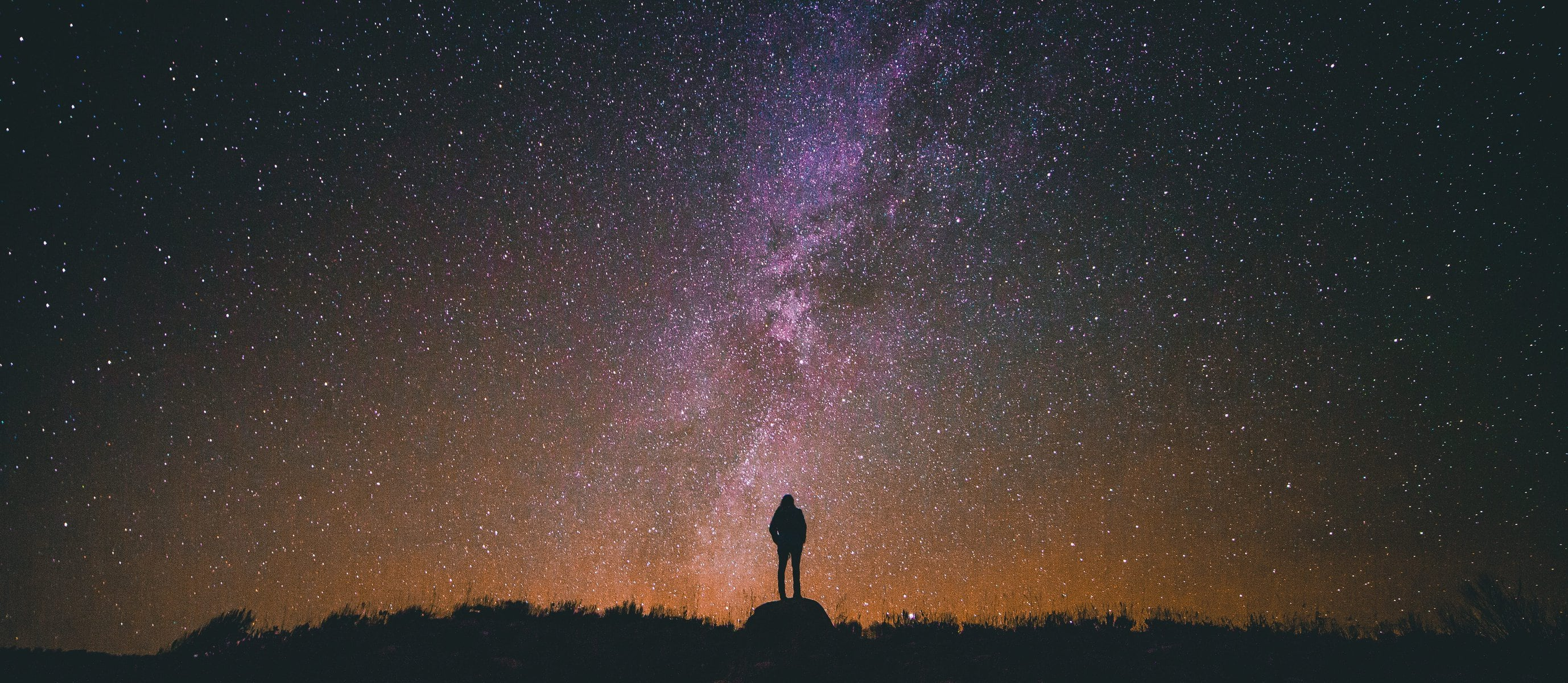 Silhouetted person staring at a starry night sky