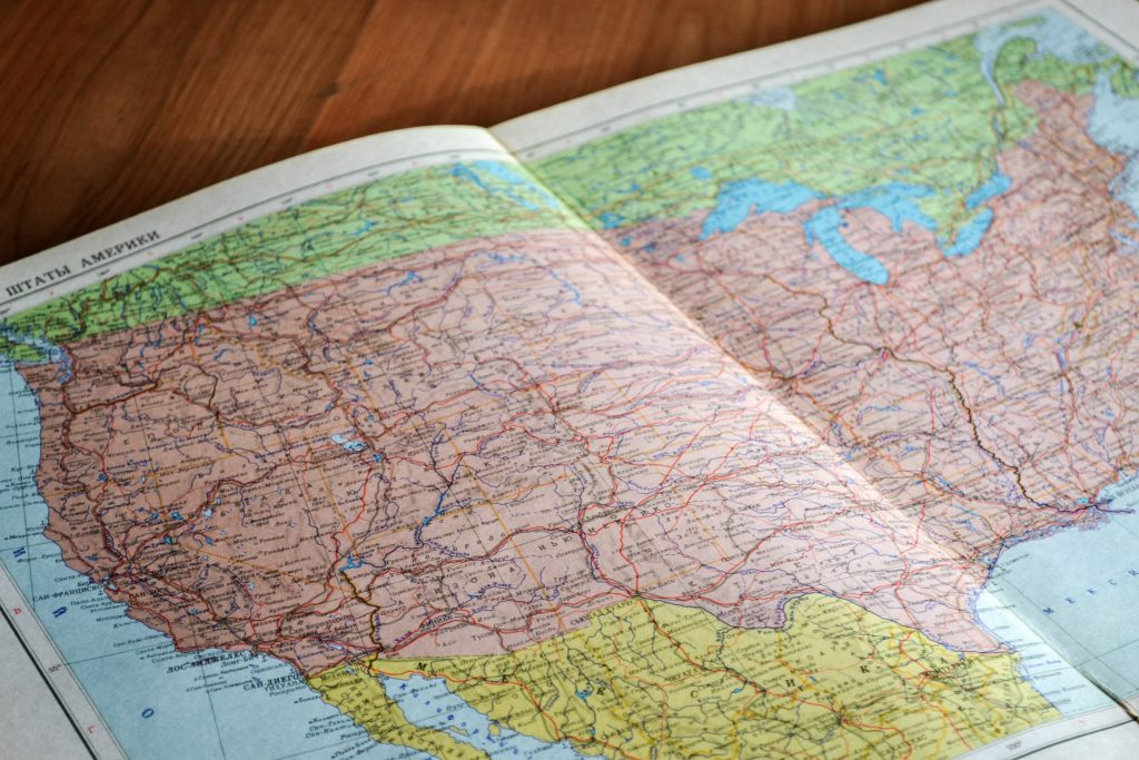 Map of the US to illustrate data privacy laws in the US