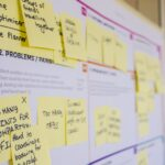 Scrum board with yellow postits showing tasks and problems.