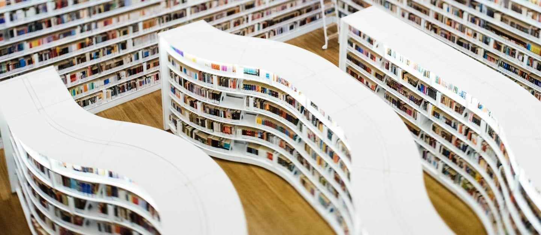 shelfs in a library