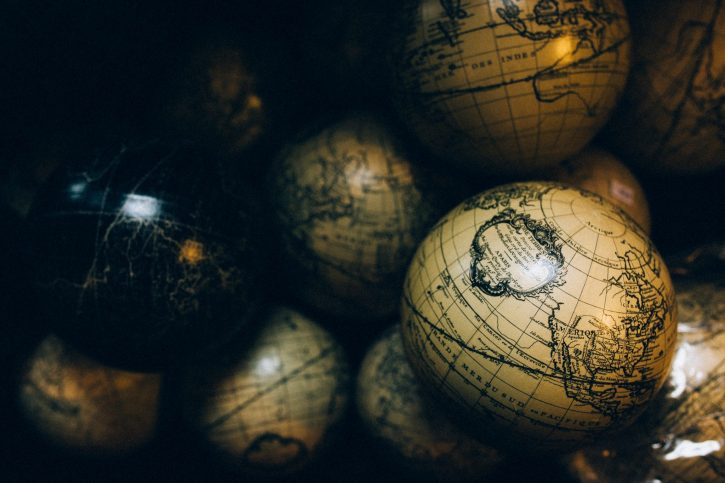 Many small globes in vintage design