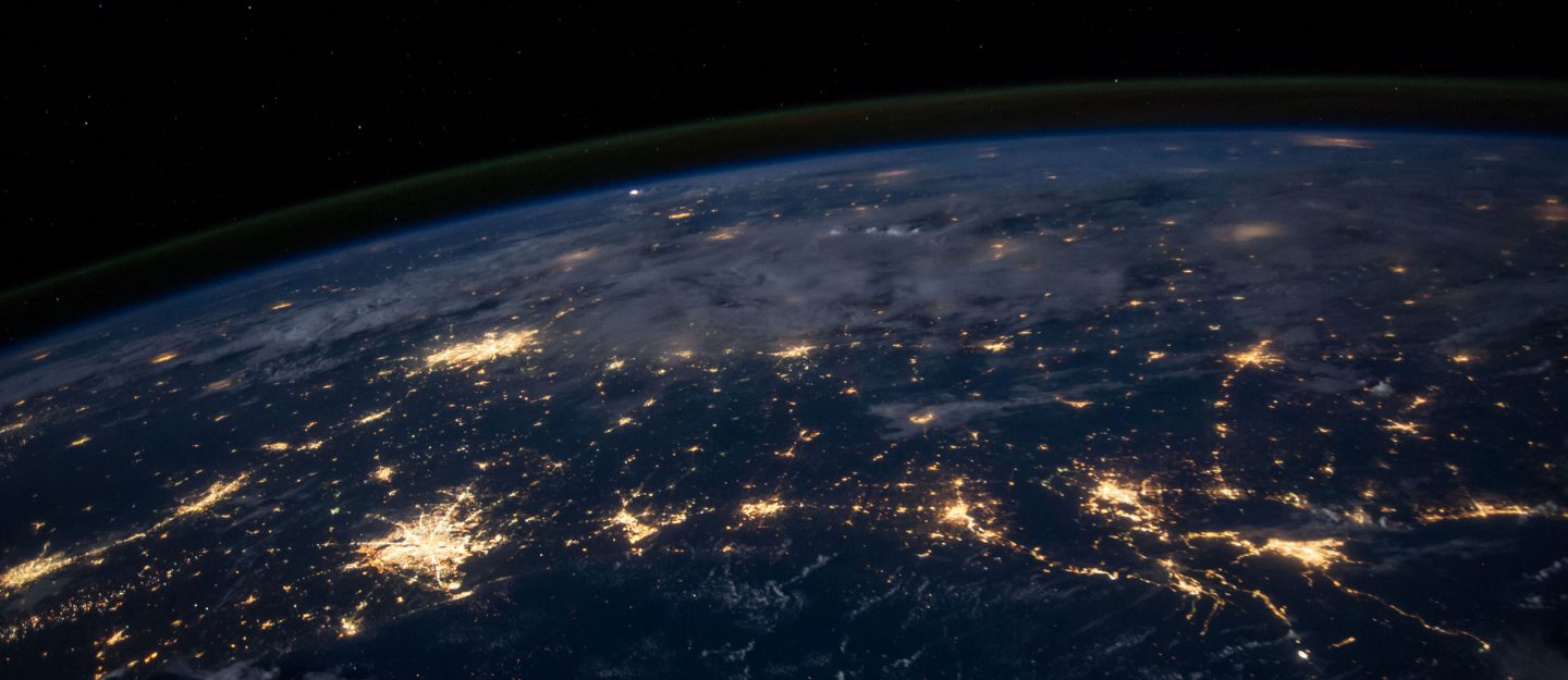 the earth by night from above